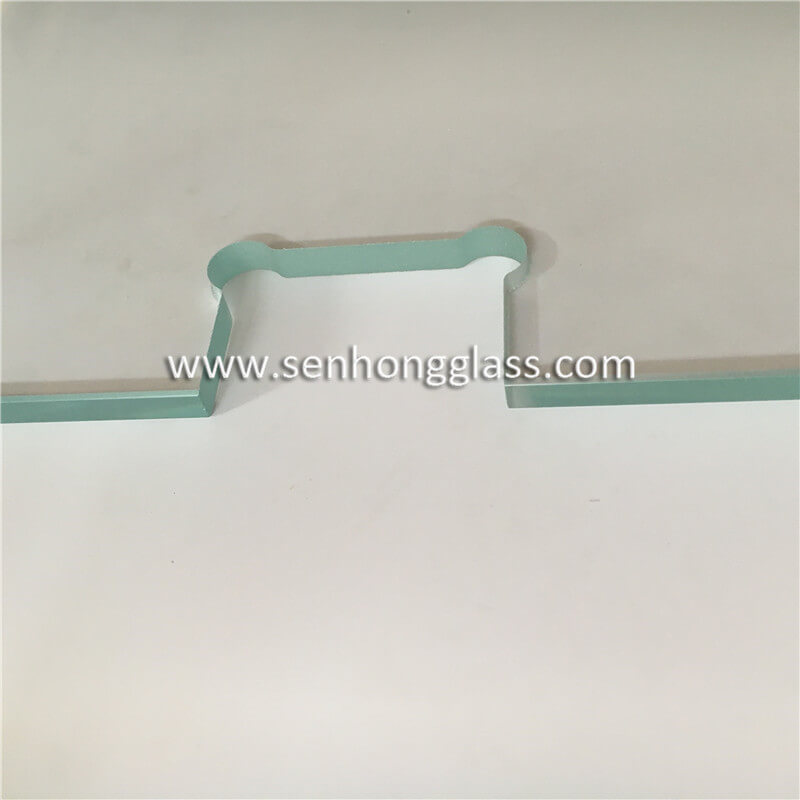 10mm low iron tempered glass hinge cut